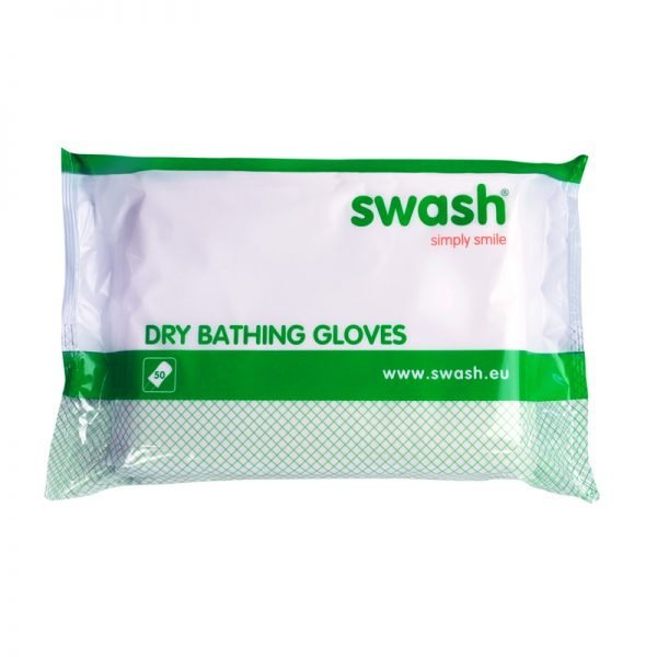 Dry bathing gloves